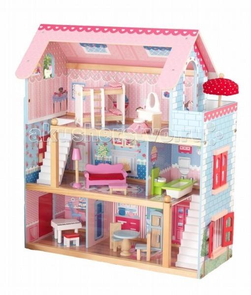 KidKraft Кукольный домик Открытый коттедж Chelsea с мебелью 19 элементов