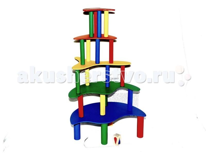 Деревянная игрушка Таис Настольная игра Собери башнюНастольная игра Собери башнюДеревянная игрушка Таис Настольная игра Собери башню   Особенности: Разместите все колонны на ровной поверхности в любом порядке.  После этого первое, синее перекрытие кладется на колонны.  Каждый игрок бросает кубик, чтобы определить цвет колон, которым он будет играть.  Игроки по очереди вытаскивают (убирают) специальным крючком по одной колонне, по своему выбору и переставляют ее на перекрытие.  Установка нового перекрытия возможно лишь в том случае, если ни одну из колонн нельзя больше переместить, и чтобы все игроки согласились с этим. Перекрытия укладываются по мере их уменьшения в размере (синее, зеленое, желтое, оранжевое и красное).  Колонну можно брать, слегка приподнимая перекрытие, а устанавливая колонну, игрок не должен держаться за перекрытие.  За один ход можно переместить только одну колонну. Игрок получает очки за каждую колонну, которую ему удается поставить на верхние из возможных перекрытий.  Игра заканчивается, когда башня построена.  Победителем становится игрок, у которого на тот момент будет наибольшее количество очков.  Если же при очередной перестановке колонны башня разрушена, победителем становится предыдущий игрок.  Игра прекрасно тренирует ловкость и внимательность.  Кроме того в этой игре Вам не обойтись без начальных навыков тактического мышления.<br>