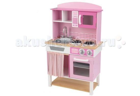 KidKraft Детская деревянная кухня Домашний шеф-поварДетская деревянная кухня Домашний шеф-поварKidKraft Детская деревянная кухня Домашний шеф-повар (Home Cooking Kitchen) - оригинальный выбор для каждой маленькой хозяйки.  Кухня выполнена в светло розовом цвете с белыми вставками и ножками. Столешница и большая нижняя полка декорированы под дерево.   Набор отличается своей реалистичностью - ручки и краны поворачиваются, а все дверцы могут открываться. Кухня очень похожа на настоящую.   Игрушка не только позволит развивать фантазию малышки при готовке игрушечных блюд, но и будет прививать любовь к труду и домашним делам.<br>