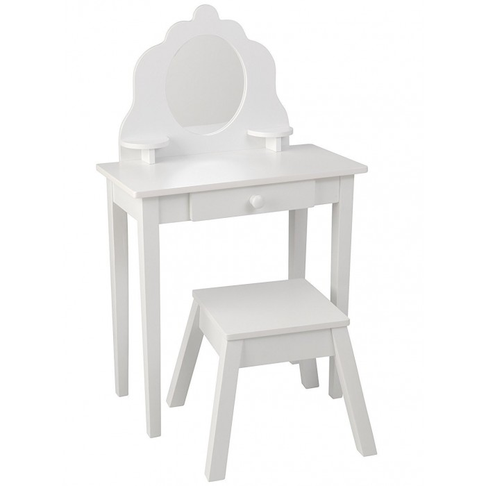 KidKraft Туалетный столик из дерева для девочки Модница (White Medium Vanity & Stool)