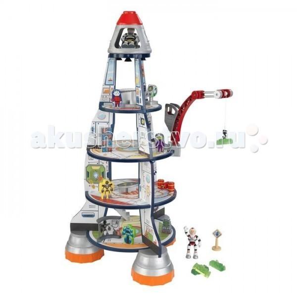 KidKraft Игровой набор Космический корабльИгровой набор Космический корабльKidKraft Игровой набор Космический корабль (Rocket Ship) - увлекательный сюжетно-ролевой набор для мальчиков. В основании игрушки стационарная космическая станция, к которой можно стыковать ракету.   Игрушка достаточно большая, чтобы с ней могли играть одновременно 2 малыша.  Космический корабль имеет 5 ярусов, оснащен грузовым подъемным краном. В наборе тематические аксессуары - компьютеры, указатели, центры управления, космонавты, роботы и инопланетяне.<br>