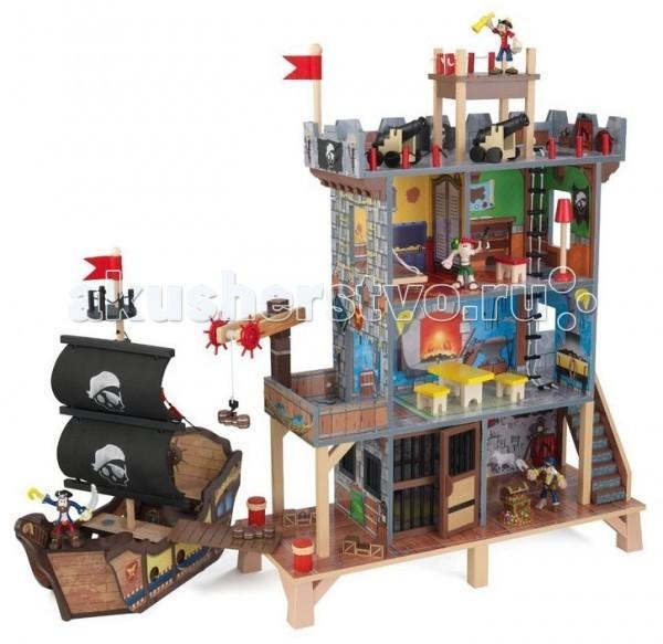 KidKraft Набор Пиратский фортНабор Пиратский фортKidKraft Набор Пиратский форт станет великолепным подарком для каждого мальчишки.   Крепость дополняется смотровой площадкой на верхнем этаже, а также грузовым краном на причале, который нужен для разгрузки сокровищ с корабля.   В комплект входят: большая крепость с несколькими этажами, лестницей, окнами, дверями мебелью и интерьерными предметами, большой пиратский корабль с парусами, штурвалом, грузом и мачтой. Кроме того, игрушка дополняется 4 фигурками пиратов, сундуком со светящимися сокровищами, 2 пушками, издающими звуки выстрелов и световыми вспышками.<br>