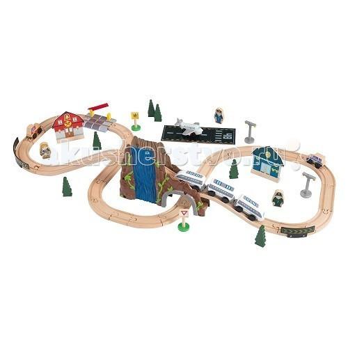 KidKraft Железная дорога-деревянный игровой набор Аэро Экспресс в  контейнереЖелезная дорога-деревянный игровой набор Аэро Экспресс в  контейнереKidKraft Железная дорога-деревянный игровой набор Аэро Экспресс в контейнере не позволит заскучать малышу. Он представлен большим количеством элементов и аксессуаров, но главной игрушкой является оригинальный поезд.   В комплект входит 61 элемент, среди которых дети найдут:  детали для создания дороги тоннель между скалами шлагбаум постройки в виде пожарной части и полицейского участка самолёт с взлётной полосой пожарную и полицейскую машины фигурки людей деревья дорожные знаки.<br>