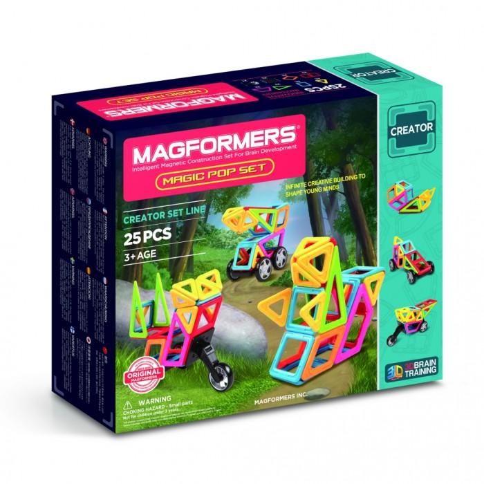 Конструктор Magformers Магнитный Magic PopМагнитный Magic PopМагнитный конструктор Magformers 63130 Magic Pop.  Набор Magformers Magic Pop Set развивает Ваш творческий потенциал с помощью пошагового построения и перестроения 3D моделей окружающего мира! Набор содержит 22 магнитных элемента 6 различных геометрических форм ярких цветов, самый популярный аксессуар колеса и новый дополнительный элемент колесо мотоцикла.  С помощью данной книги идей Вы сможете собрать более 30 различных трехмерных построек и почувствуете, как легко, словно по волшебству, созданная Вами модель из мира природы за несколько шагов превращается в автомобиль или мотоцикл! Уважаемые родители, обращаем ваше внимание, что данный набор предназначен для детей старше 3-х лет. Дети меньшего возраста тоже с удовольствием играют в Магформерс, но только вместе с родителями!<br>