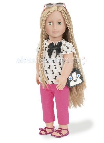Our Generation Dolls Кукла 46 см Бель в стильной одеждеКукла 46 см Бель в стильной одеждеOur Generation Dolls Кукла 46 см Бель в стильной одежде обязательно понравится малышке, ведь она обаятельная и очень стильная.   Бель одета в беленькую футболку с чёрным бантом, розовые штанишки и сандалии. Также кукла носит несколько крутых аксессуаров – очки и сумочку. Бель зеленоглазая и длинноволосая кукла, которую Ваша малышка, включив фантазию, сможет превратить в настоящую модницу, подбирая для неё причёску и наряд.   Из волос куклы можно делать разнообразные прически, а одежу куклы можно снимать и надевать обратно.<br>