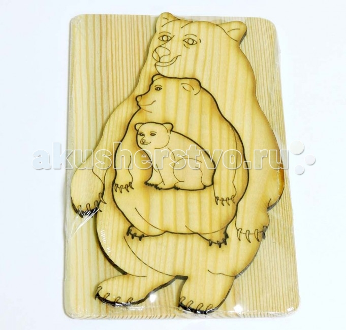 Деревянная игрушка Таис Головоломка Больше-меньше (Медведь сибирский)
