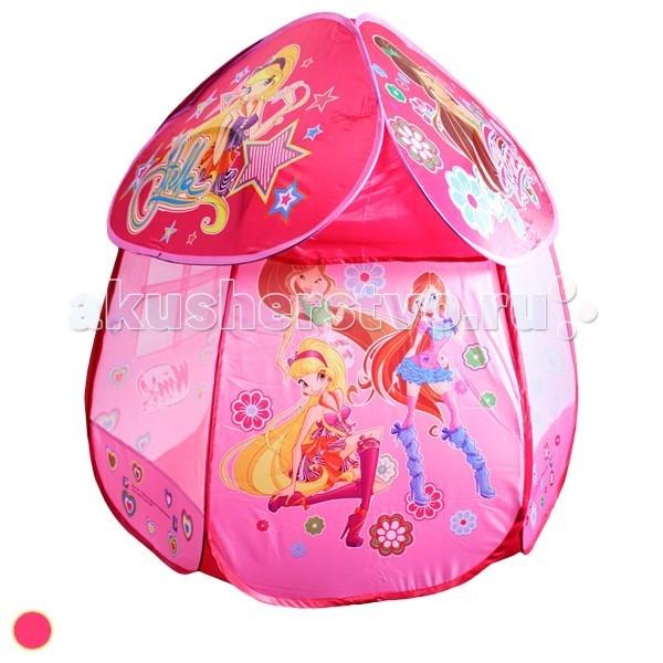 1 Toy Winx игровая палатка в сумкеWinx игровая палатка в сумке1 Toy Winx детская игровая палатка в сумке. Отлично подойдет для детских садов и развивающих центров. А также незаменим для игр двух и более детей дома, на дачном участке и во дворе вашего дома.   Палатка имеет круглый вход с откидывающимся пологом, очень быстро складывается и раскладывается и занимает мало места при хранении (в комплект входит сумка на молнии).   Для детей от 1 года (дети до 3 лет играют строго под присмотром взрослых!)  Сделана из безопасного влагостойкого материала. Имеет яркий и интересный внешний вид.<br>