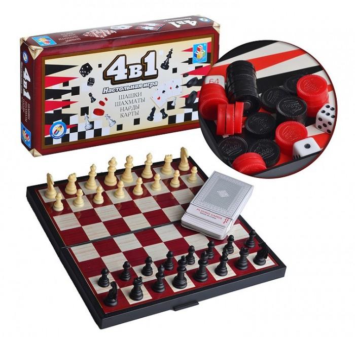 1 Toy Игра настольная 4 в 1 Шашки/шахматы/нарды/карты на магните