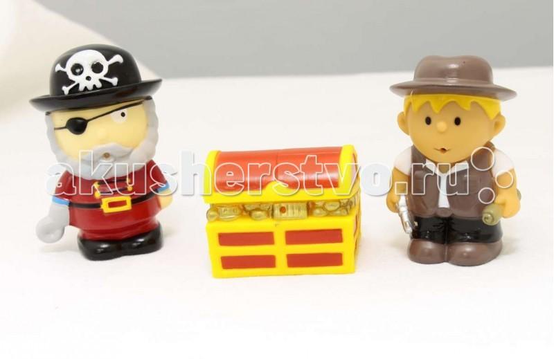 1 Toy Буль-Буль Набор игрушек для ванны Пират, мальчик и сундук