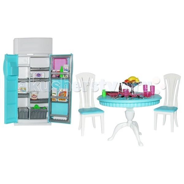 1 Toy Набор мебели для кукол СтоловаяНабор мебели для кукол Столовая1 Toy Набор мебели Столовая - для кукол ростом 29 см, выполненный в духе шагающей в ногу со временем юной жительницы мегаполиса.   Большое количество стильных игровых аксессуаров, входящих в набор, сделают игру интересной и увлекательной. Вся фурнитура очень проста в сборке, сама девочка сможет собрать её, а если ребёнок ещё мал, то это легко осуществимо вместе с родителями (в комплект входит подробная инструкция).  В состав комплекта входят холодильник с открывающимися дверями, круглый стол, 2 стула, набор посуды, наклейки, набор овощей и фруктов.  Мебель для кукол - одни из самых любимых аксессуаров у девочек, благодаря широким возможностям моделирования в игре различных ситуаций кукольной жизни.  Основные характеристики: цвет бело-серо-голубой размеры холодильника 11 х 5 х 25,5 см размеры стола 14,5 х 14,5 х 10,5 см размеры стула 6 х 7 х 15 см.<br>
