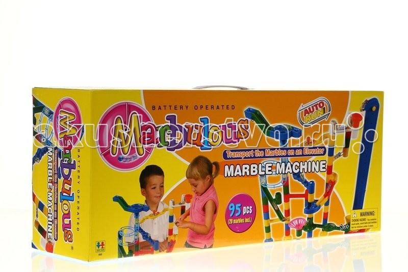 Конструктор Tototoys Marbulous Marble Machine 95 деталейMarbulous Marble Machine 95 деталейTototoys Конструктор Marbulous Marble Machine 95 деталей.  Конструктор Tototoys Marbulous Marble Machine 95 дет. + 20 шаров - две игры в одном! Вначале нужно соединить цветные детали, создавая интересный лабиринт для шариков, а затем смотреть, как шарики катятся по созданной трассе. Последнее дети, как правило, обожают и запускают шарики по многу раз, с интересом наблюдая за их движением. Детали окрашены в яркие основные цвета.  В комплекте 95 деталей, из которых можно собрать достаточно сложный и интересный лабиринт для 20 шариков. Имеются вертикальные трубки, открытые желоба-горки, широкие воронки, колесики с лопастями, подставки, контейнеры, куда шарики приезжают. Собирать можно по схеме и самостоятельно, мысленно представляя движение шарика. В инструкции предлагается несколько вариантов построения лабиринтов разного размера с использованием разного количества деталей, от самого простого до наиболее сложного, остальные подскажет собственная фантазия.  Элементы лабиринта имеют размеры примерно от 4 до 10 см. Элементы легко вставляются друг в друга, образуя трек для шариков. Шарики диаметром 2 см частично прозрачные. Развивает пространственное мышление, воображение, мелкую моторику рук, а также дает представление о физических свойствах шара и законе всемирного тяготения.  В набор входит:  95 деталей 20 шариков инструкция.<br>