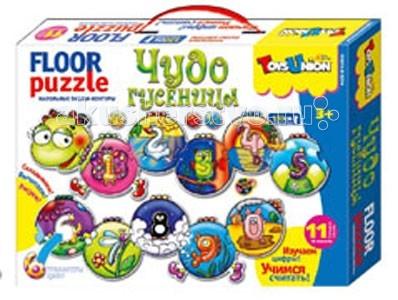 ToysUnion Пазл Чудо гусеницаПазл Чудо гусеницаПазл ToysUnion 00-650 Чудо гусеница.  Напольные пазлы-контуры - это крупные пазлы-контуры. Они предназначены специально для маленьких детей от 3-х лет. Собирая картинку, ребенок учится терпению, усидчивости, умению концентрировать внимание, доводить начатое дело до конца. В наборе: 24 элемента с цифрами-трафаретами Общая длина гусеницы 1300 мм!<br>