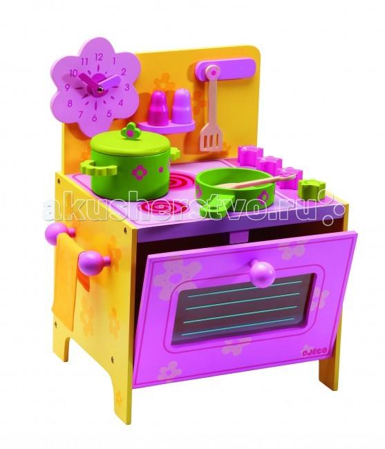 Деревянная игрушка Djeco Кухня-плита ДезиКухня-плита ДезиДеревянная игрушка Djeco Кухня-плита Дези Розовая - очень компактная, поэтому особенно популярна в качестве первой игрушки-кухни в арсенале маленьких хозяюшек.  Основные характеристики: игрушка включает 2 ключевых элемента кухонной техники – плиту и духовой шкаф аксессуары, входящие в комплект, размещаются на задней стенке кухни или на плите духовой шкаф открывает выключатели комфорок поворачиваются слева предусмотрен держатель для кухонного полотенца на задней стенке над плитой расположена полочка для специй, крючки для ложек-лопаток, а также предусмотрено место для красивых настенных часов. В комплекте: кухня часы в форме розового цветка кастрюля с крышкой сковорода кухонные ложка и лопатка 2 баночки для специй. Размеры кухни: 35 x 37 x 28 см<br>