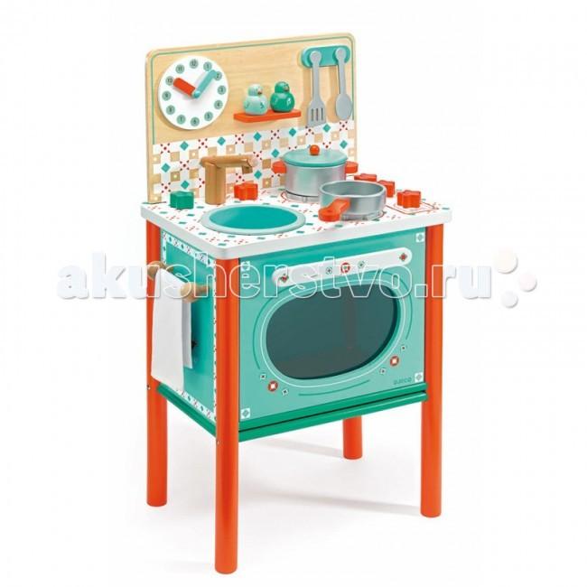 Деревянная игрушка Djeco Кухня Маленький завтракКухня Маленький завтракДеревянная игрушка Djeco Кухня Маленький завтрак - великолепная новинка для маленьких хозяюшек!  На этой замечательной детской кухне есть все самое необходимое для того, чтобы приготовить вкусный обед для своих игрушечных друзей.   В комплекте: плита, сковородка, кастрюля, солонка и перечница, полотенце, ложечка и лопатка.   Основные характеристики: варочная панель имеет 2 конфорки дверца плиты открывается и внутрь можно поставить посуду для приготовления с помощью часиков можно познакомиться с числами и временем  все детали изготовлены из высококачественных материалов дерево покрыто безопасными нетоксичными красками  набор продается в красивой коробке и идеально подходит для подарка.  Размеры игрушки: 37.4 x 69.3 x 25.2 см<br>