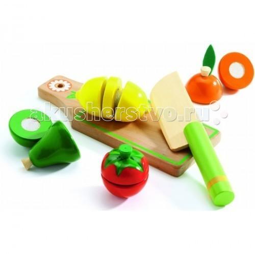 Деревянная игрушка Djeco Игровой набор для разрезания Фрукты и овощи