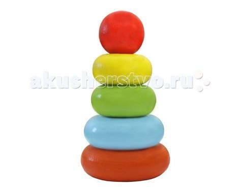 Деревянная игрушка Alatoys Пирамидка Колечки 5 деталей