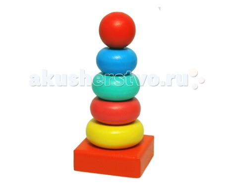 Деревянная игрушка Alatoys Пирамидка Колечки 6 деталей