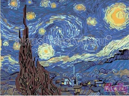 Molly Картины со стразами Ван Гог. Звездная ночь 40х50 смКартины со стразами Ван Гог. Звездная ночь 40х50 смКартина со стразами Molly Ван Гог. Звездная ночь – нечто подобное по технике и принципам выполнения картинам по номерам, которые так хорошо знакомы даже детям, и совершенно иное по достигаемому результату.  Стразы представляют собой имитацию драгоценного камня. Благодаря качественной огранке каждого элемента, готовая картина – это художественный шедевр, который сверкает, мерцает и переливается множеством цветов и оттенков при изменении освещения.   Алмазная картина, помещенная в соответствующую раму, прекрасно впишется в любой интерьер.  Состав набора: холст из натурального хлопка с клеевым слоем разноцветные стразы диаметром 2,8 мм пинцет емкость для фольгированных элементов клей карандаш-липучка крепеж для подвешивания картины. Количество цветов: 25 Уровень сложности: сложный Размер: 40х50 см<br>