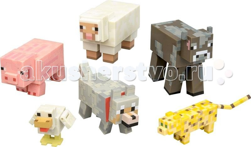 Minecraft Игровой набор Животные 6 предметовИгровой набор Животные 6 предметовMinecraft Игровой набор Животные 6 предметов - набор станет невероятно приятным сюрпризом для любого поклонника игры Minecraft. Кроме того, они отлично смотрятся в качестве памятных сувениров. Откройте для себя возможность воплотить любимую игру в реальность!  В игровом наборе по мотивам знаменитой игры Minecraft содержатся 6 стилизованных фигурок животных в фирменном и уникальном пикселизированном стиле. Фигурки созданы из качественного пластика, их очень приятно держать в руках, их головы и конечности подвижные.   В набор вошли следующие животные: свинья, овца, утка, корова, волк и оцелот. Фигурки созданы точно такими же, как выглядят эти животные в игре. С фигурками можно перенести игровые элементы в реальную жизнь.<br>