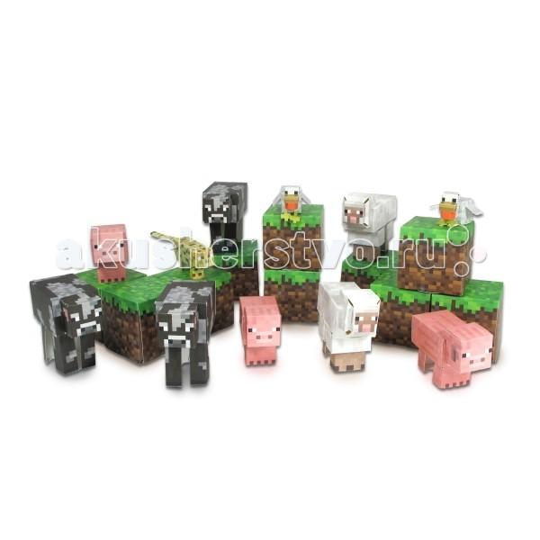 Конструктор Minecraft из бумаги Дружелюбные мобы 30 деталейиз бумаги Дружелюбные мобы 30 деталейКонструктор Minecraft из бумаги Дружелюбные мобы 30 деталей - набор бумажного конструктора Minecraft Papercraft позволит Вам собрать полюбившихся дружелюбных мобов из вселенной Майнкрафт.  Этот простой в сборке набор включает в себя 30 деталей мобов и пиксельных кубов, среди которых Вы найдете 3 свиньи, 3 коровы, 2 овцы, 2 курицы и одного леопарда.   В процессе игры ребенок будет выдумывать различные сюжеты, развивая свое воображение. Детали игры выдавливаются из листа и собираются между собой, что помогает развитию логики и моторики.  Также набор Майнкрафт Паперкрафт станет прекрасным подарком ребенку или любителю данной игры!<br>