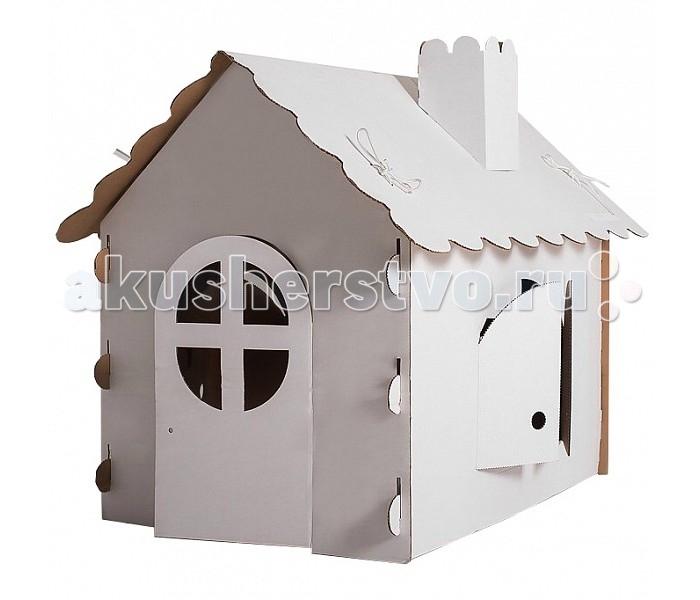 Игровой домик Russia РуРу картонныйРуРу картонныйИгровой домик РуРу: подарить ребенку радость так просто!  Игровой домик РуРу выполнен из экологически чистого материала: белого гофрированного картона. Он легко собирается и разбирается. Он состоит всего из 6 деталей и собирается за 5 минут. Крыша крепится при помощи веревочек, которые также входят в комплект.  В домике есть дверь, два распашных окна, окно на заднем фасаде и дымоход. Наличие большого количества окон позволяет хорошо осветить внутренне пространство, что так необходимо для игр внутри.  Стены и другие элементы домика могут стать полотном для самовыражения вашего ребенка: на поверхности можно рисовать, писать. Материал полностью экологичен. После того, как домик РуРу станет неактуальным элементом детской, его можно будет разобрать и выбросить без каких-либо трудностей.  Размер  126 х 80 х 106 см<br>