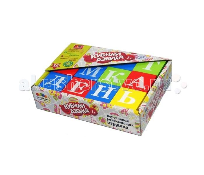 Деревянная игрушка Alatoys Кубики Азбука окрашенные 12 шт. 4 цвета