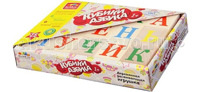 Деревянная игрушка Alatoys Кубики Азбука неокрашенные 15 шт.