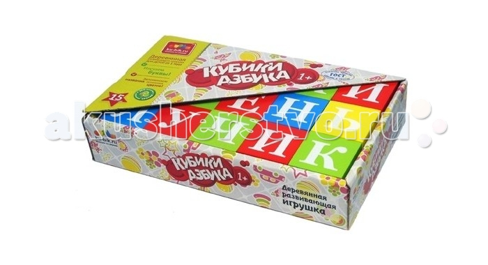 Деревянная игрушка Alatoys Кубики Азбука окрашенные 15 шт.Кубики Азбука окрашенные 15 шт.Деревянная игрушка Alatoys КБА1501 Кубики Азбука окрашенные 15 шт.  Кубики разукрашены в яркие цвета, это сразу привлекает внимание ребенка. Из кубиков можно выстраивать башенки, заборчики, различные сооружения, и одновременно произносить вслух буквы. Ребенок в игровой форме запоминает буквы и начинает понимать как выстраиваются слова. Вы можете поиграть с ребенком в игру, кто придумает больше слов, выстраивая последовательность из букв слева направо, справа налево, сверху вниз, снизу вверх либо другими способами.<br>