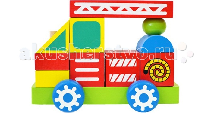 Каталка-игрушка Alatoys Конструктор-каталка Пожарная машина