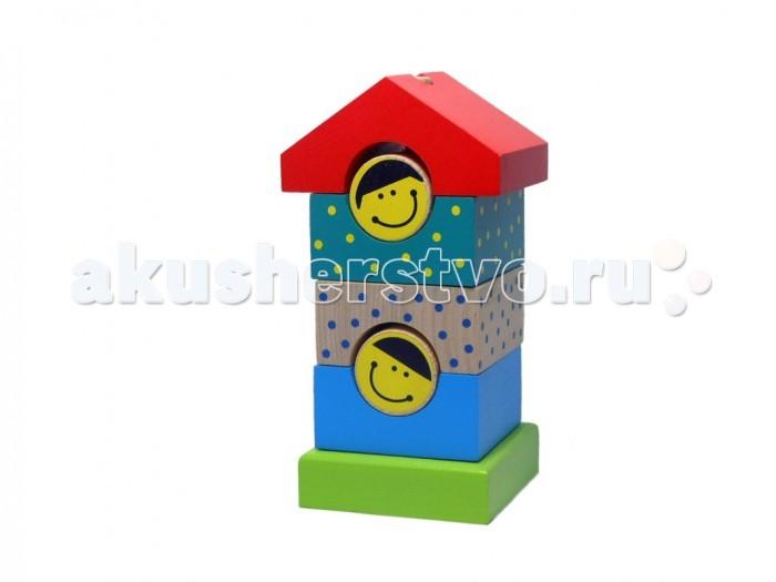 Деревянная игрушка Alatoys Пирамидка деревянная Домик 7 деталей