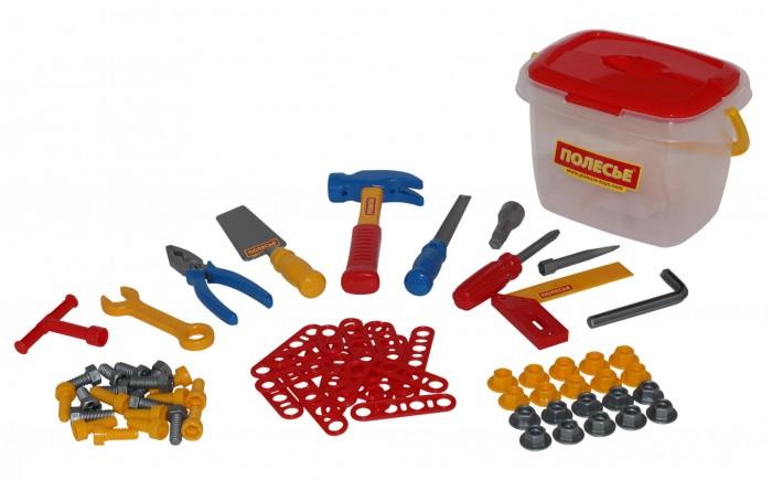 Полесье Набор инструментов №1Набор инструментов №1Полесье Набор инструментов №1 (72 элемента), обязательно понравится вашему малышу и займет его внимание надолго.  Особенности: Все инструменты, входящие набор, функционально идентичны взрослым аналогам и позволяют развивать мелкую моторику и координацию ребенка: ловкость и гибкость пальцев и кистей, точность движений.  Набор инструментов помогает познакомить детей с основными особенностями взаимодействия отдельных частей и деталей, развивает пространственное воображение. Изготовлен из высококачественных материалов.  В комплекте: Отвертка со сменными наконечниками (крестообразный и прямой шлицевой) – 1 шт. Ключ комбинированный: рожковый и накидной – 1 шт. Гаечный ключ – вороток – 1 шт. Шестигранник – 1 шт. Пассатижи – 1 шт. Угольник с линейкой – 1 шт. Молоток – 1 шт. Шпатель – 1 шт. Рашпиль – 1 шт. Кельма – 1 шт. Планка с двумя отверстиями – 5 шт. Планка с тремя отверстиями – 5 шт. Планка с четырьмя отверстиями – 5 шт. Планка с пятью отверстиями – 5 шт. Болты для шестигранника – 10 шт. Болты для ключа и отвертки – 10 шт. Гайки – 20 шт.<br>