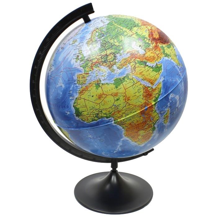 Globen Глобус Земли физический 320 серия КлассикГлобус Земли физический 320 серия КлассикGloben Глобус Земли физический 320 серия Классик.  Чтобы найти столицу страны, мы обращаемся к политической карте. А вот Глобус Земли физический Globen отражает внешний вид Земли, показывает ее рельеф и природные особенности. Ищите моря и горы, реки и равнины, сравнивайте их размеры. На глобусе указаны границы стран и названия городов, поэтому ребенок получает целостную картину устройства мира. Благодаря большому масштабу карты даже маленькие острова сразу видны. Изучайте самые отдаленные уголки нашей планеты!  Использование глобуса с физической картой сопровождает домашние занятия географией. Красочное объемное пособие стимулирует интерес к урокам и облегчает усвоение теоретического материала. Наглядное пособие знакомит школьника с основными географическими понятиями, учит ориентироваться, читать условные обозначения. С помощью такого глобуса ребенок развивает память: пусть воссоздаст примерные границы государств, а потом проверит себя, включив подсветку.  Диаметр 320 мм На пластиковой подставке Упаковка: коробка.<br>
