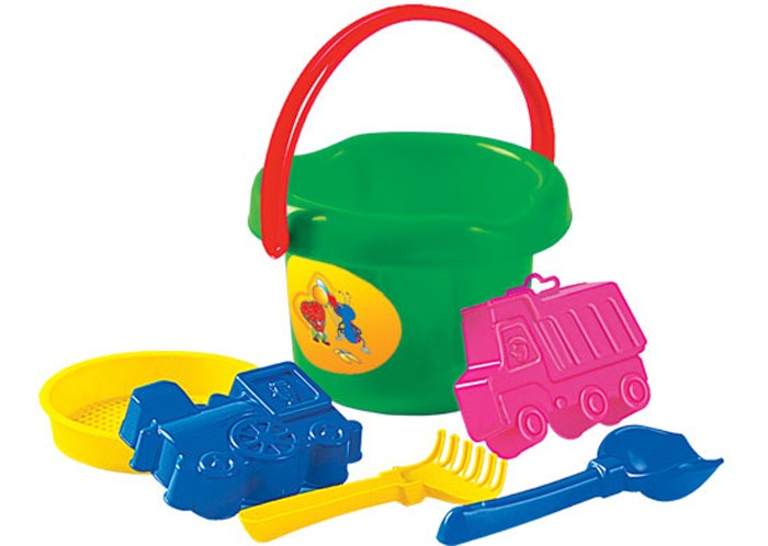 Полесье Набор для игры с песком № 34Набор для игры с песком № 34Полесье Набор для игры с песком № 34, обязательно понравится вашему малышу и займет его внимание надолго.  Особенности: Прекрасно подойдет для игр вашего малыша в песочнице. Набор выполнен из безопасных материалов, допустимых в изготовлении товаров для детей. Материал пластик.  В наборе: ведро большое, 2 формочки самосвал+паровоз, совок №2, грабельки №2.<br>