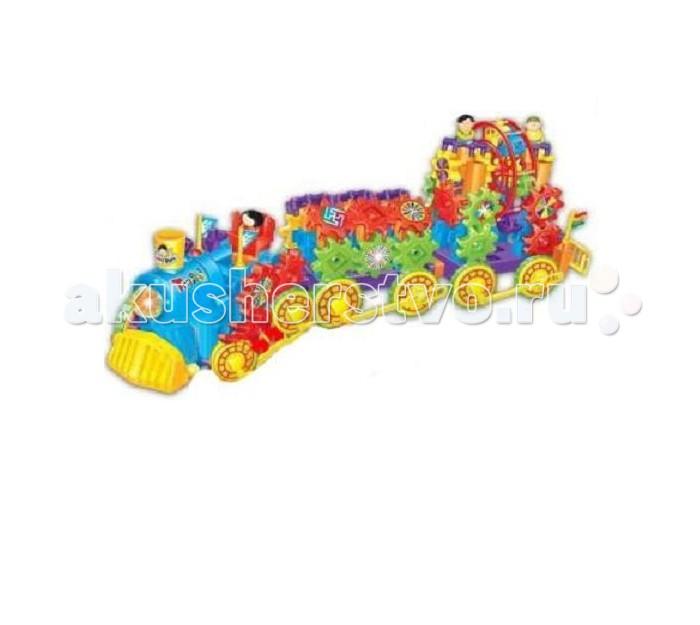 Zhorya Железная дорога Поезд + 2 вагонаЖелезная дорога Поезд + 2 вагонаZhorya Железная дорога Поезд + 2 вагона станет замечательным подарком для Вашего малыша.  Железная дорога – это особенная игрушка, которая должна быть у каждого ребенка. Zhorya Твой старт - это необычный конструктор для детей старше 5 лет, который состоит из шестеренок различных размеров, соединительных элементов и разнообразных аксессуаров. Собрав все его детали, перед вашим ребенком предстанет разноцветный поезд с двумя вагончиками.  В наборе: множество деталек разнообразных цветов и форм, из них маленький инженер сможет собрать поезд и 2 вагончика игрушка со звуковыми эффектами и ярким дизайном работает на батарейках (в комплект не входят).  Модель игрушки работает от батареек. Яркие цвета и необычные фигурки очень понравятся малышу. При движении возникают световые и звуковые эффекты. Данная модель развивает у детей фантазию, воображение, творческие способности и пространственное мышление.<br>