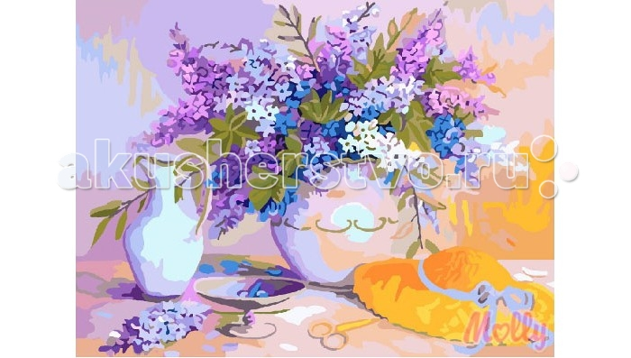 Molly Картина по номерам Фиолетовая сирень 40х50 смКартина по номерам Фиолетовая сирень 40х50 смКартина по номерам Molly Фиолетовая сирень - это интеллектуальное рисование. Просто взяв в руки краски и, следуя нумерации на фрагментах картинки, вы создаете оригинальный рисунок.  Раскраска по номерам учит штриховать рисунки в заданных областях и раскрашивать их, не заходя за контур, концентрироваться на отдельных предметах, планировать свою деятельность.  Состав набора: холст из натурального хлопка на деревянном подрамнике (холст предварительно прогрунтован) нейлоновые кисти разного размера 3 шт. акриловые краски (устойчивые к выцветанию) крепление на стену акриловый лак (2 баночки). Размер: 40х50 см.<br>