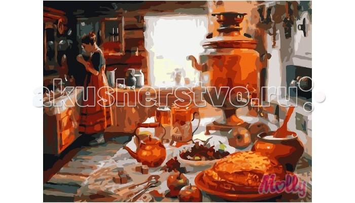 Molly Картина по номерам Крестьянская кухня 40х50 смКартина по номерам Крестьянская кухня 40х50 смКартина по номерам Molly Крестьянская кухня - это интеллектуальное рисование. Просто взяв в руки краски и, следуя нумерации на фрагментах картинки, вы создаете оригинальный рисунок.  Раскраска по номерам учит штриховать рисунки в заданных областях и раскрашивать их, не заходя за контур, концентрироваться на отдельных предметах, планировать свою деятельность.  Состав набора: холст из натурального хлопка на деревянном подрамнике (холст предварительно прогрунтован) нейлоновые кисти разного размера 3 шт. акриловые краски (устойчивые к выцветанию) крепление на стену акриловый лак (2 баночки). Размер: 40х50 см.<br>