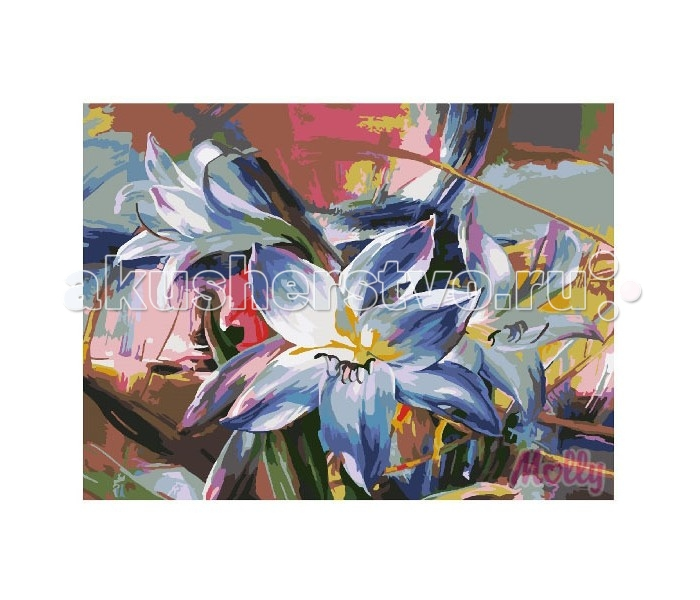 Molly Картина по номерам Голубые лилии 40х50 см
