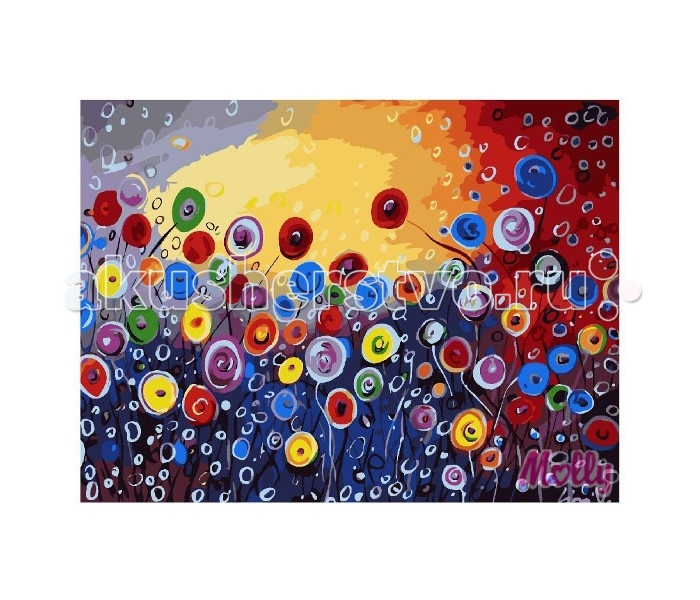 Molly Картина по номерам Цветочная абстракция 40х50 смКартина по номерам Цветочная абстракция 40х50 смКартина по номерам Molly Цветочная абстракция - это интеллектуальное рисование. Просто взяв в руки краски и, следуя нумерации на фрагментах картинки, вы создаете оригинальный рисунок.  Раскраска по номерам учит штриховать рисунки в заданных областях и раскрашивать их, не заходя за контур, концентрироваться на отдельных предметах, планировать свою деятельность.  Состав набора: холст из натурального хлопка на деревянном подрамнике (холст предварительно прогрунтован) нейлоновые кисти разного размера 3 шт. акриловые краски (устойчивые к выцветанию) крепление на стену акриловый лак (2 баночки). Размер: 40х50 см.<br>