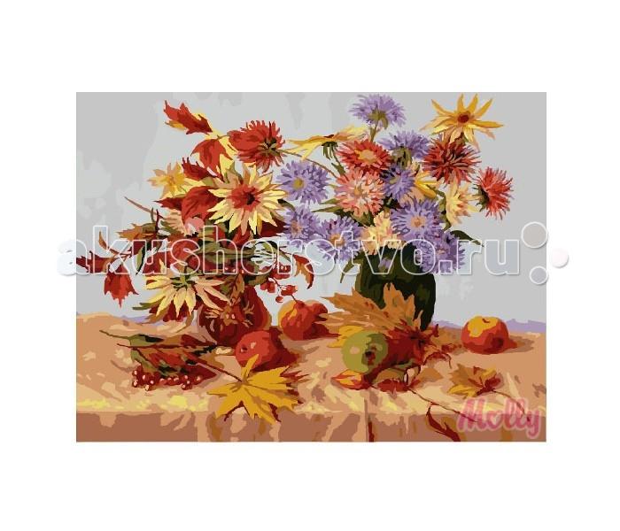 Molly Картина по номерам Осенний дуэт 40х50 смКартина по номерам Осенний дуэт 40х50 смКартина по номерам Molly Осенний дуэт - это интеллектуальное рисование. Просто взяв в руки краски и, следуя нумерации на фрагментах картинки, вы создаете оригинальный рисунок.  Раскраска по номерам учит штриховать рисунки в заданных областях и раскрашивать их, не заходя за контур, концентрироваться на отдельных предметах, планировать свою деятельность.  Состав набора: холст из натурального хлопка на деревянном подрамнике (холст предварительно прогрунтован) нейлоновые кисти разного размера 3 шт. акриловые краски (устойчивые к выцветанию) крепление на стену акриловый лак (2 баночки). Размер: 40х50 см.<br>