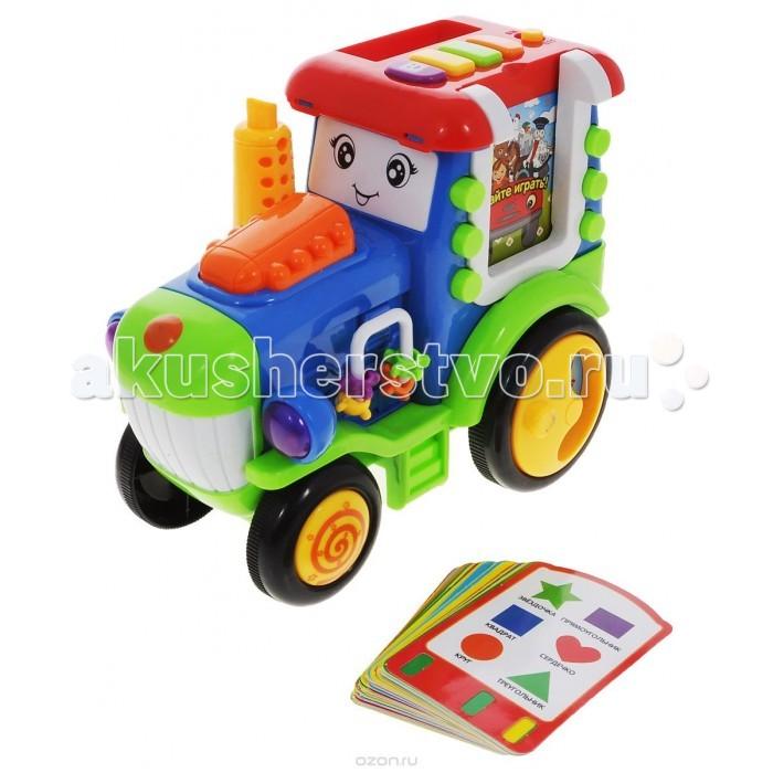 Развивающая игрушка Zhorya Умный Я Обучающий тракторУмный Я Обучающий тракторРазвивающая игрушка Zhorya Умный Я Обучающий трактор очень забавная и познавательная игрушка, которая гарантированно займет вашего ребенка на долгие часы и поможет ему больше узнать о нашем мире.   Несмотря на то, что трактор можно использовать в качестве простой машинки, основная его задача - обучить малыша буквам, цифрам, фигурам, названиям животных, морских обитателей, музыкальных инструментов и автомобилей. При этом трактор не только произносит названия, но и сопровождает их звуками, характерными для того или иного объекта.   Кроме того, в игрушке предустановлены записи стихов, которые дети могут разучить, милая песенка и просто смешные фразы, способные развеселить.   Для лучшего усвоения материала в набор входят обучающие карточки.<br>