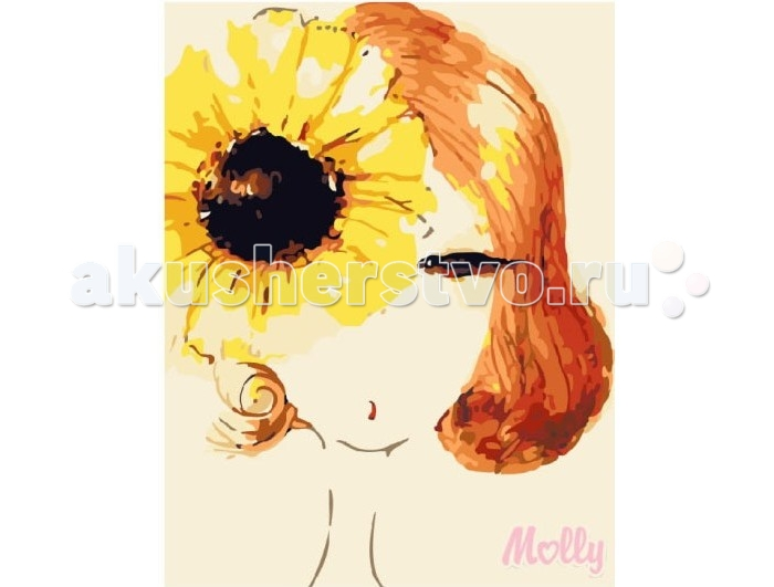 Раскраска Molly Картина по номерам Девушка-подсолнух 30х40 см