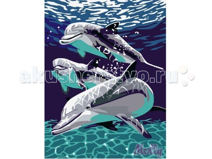 Molly Картина по номерам Три дельфина 30х40 смКартина по номерам Три дельфина 30х40 смКартина по номерам Molly Три дельфина - это интеллектуальное рисование. Просто взяв в руки краски и, следуя нумерации на фрагментах картинки, вы создаете оригинальный рисунок.  Раскраска по номерам учит штриховать рисунки в заданных областях и раскрашивать их, не заходя за контур, концентрироваться на отдельных предметах, планировать свою деятельность.  Состав набора: холст из натурального хлопка на деревянном подрамнике (холст предварительно прогрунтован) нейлоновые кисти разного размера 3 шт. акриловые краски (устойчивые к выцветанию) крепление на стену акриловый лак (2 баночки). Размер: 30х40 см.<br>