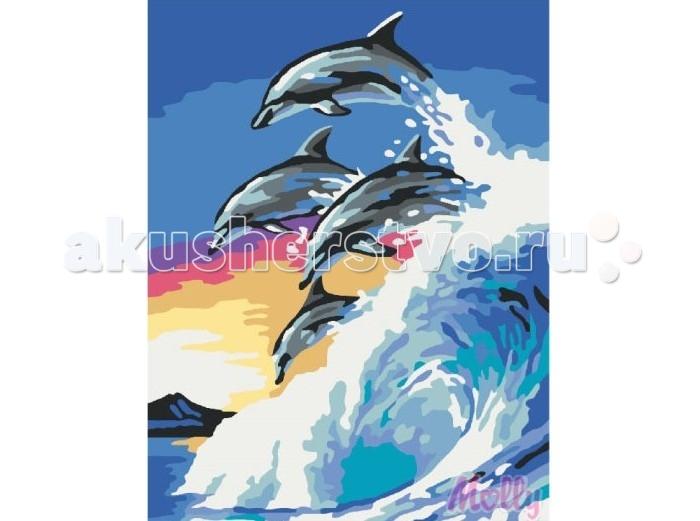 Molly Картина по номерам Стая дельфинов 30х40 смКартина по номерам Стая дельфинов 30х40 смКартина по номерам Molly Стая дельфинов - это интеллектуальное рисование. Просто взяв в руки краски и, следуя нумерации на фрагментах картинки, вы создаете оригинальный рисунок.  Раскраска по номерам учит штриховать рисунки в заданных областях и раскрашивать их, не заходя за контур, концентрироваться на отдельных предметах, планировать свою деятельность.  Состав набора: холст из натурального хлопка на деревянном подрамнике (холст предварительно прогрунтован) нейлоновые кисти разного размера 3 шт. акриловые краски (устойчивые к выцветанию) крепление на стену акриловый лак (2 баночки). Размер: 30х40 см.<br>