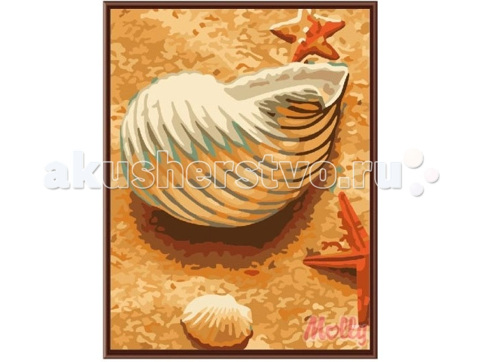 Раскраска Molly Картина по номерам Морская раковина 30х40 см