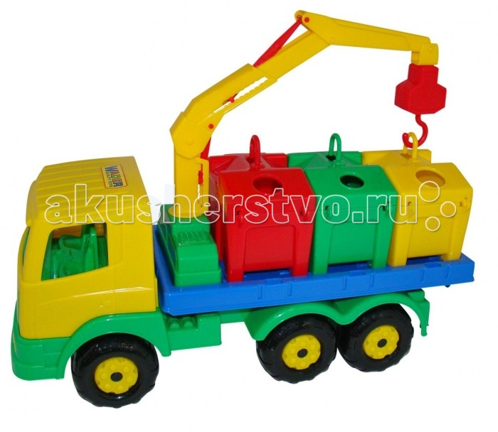 Wader Контейнеровоз ПрестижКонтейнеровоз ПрестижWader Контейнеровоз Престиж, обязательно понравится вашему малышу и займет его внимание надолго.  Особенности: Яркая игрушка, предназначенная для перевозки цветных контейнеров.  Ребенок в игровой форме начинает изучать цвета, а так же развивает моторику рук.  Автомобиль станет отличным дополнением автопарка Вашего ребенка. На машине установлен поворотный манипулятор с крюком.  При помощи этого манипулятора ребенок сможет загружать и снимать контейнеры с платформы автомобиля.  Все контейнеры оборудованы отрывающейся крышкой.  В них ребенок сможет перевозить различные мелкие грузы.  Также автомобиль-контейнеровоз можно использовать как эвакуатор. На игрушке установлена откидывающаяся платформа. Внутри контейнеров пластиковые детали, имитирующие разные виды мусора. Серия автомобилей «Престиж» знакомит детей с различными механизмами, трудовыми процессами, развивают фантазию и пространственное мышление.<br>