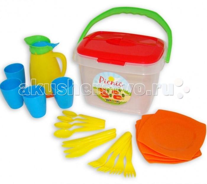Wader Набор детской посуды Алиса для пикника № 2Набор детской посуды Алиса для пикника № 2Полесье Набор детской посуды Алиса для пикника № 2, обязательно понравится вашей малышке и займет ее внимание надолго.  Особенности: С набором детской посудки Ваша малышка может устроить настоящий званный ужин для своих любимых кукол не только дама, но и на улице.  Все предметы посудки выполнена из пластмассы, которая нетоксична и не вызывает аллергии.<br>