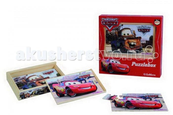 Eichhorn Пазл-коробка ТачкиПазл-коробка ТачкиEichhorn Пазл-коробка Тачки привлечет внимание вашего малыша благодаря своим красочным картинкам с любимыми героями мультфильма.  Особенности: Сложены все четыре пазла в деревянную коробочку с крышкой, в которой удобно собирать картинки.  Каждый пазл содержит 12 деталей. Всего сборных элементов 49 штук. Игры с пазлом тренируют память, логическое мышление, наблюдательность, развивают усидчивость и мелкую моторику.<br>