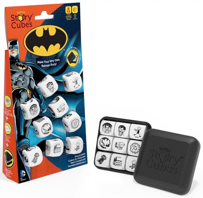 Rorys Story Cubes Кубики Историй БэтменКубики Историй БэтменRorys Story Cubes Кубики Историй Бэтмен.  Станьте настоящим рассказчиком интересных историй, играя с вашей семьей и друзьями в игру Кубики Историй Бэтмен! Придумайте историю о Бэтмене, насыщенную событиями и неожиданными поворотами. Кубики Историй о Бэтмен - это редкий тип игры, где между игроками нет конкуренции, здесь нет побежденных или победителей, ведь смысл игры в том, чтобы вместе или самостоятельно придумать и рассказать выдуманную историю.   Игрок сам может выбрать жанр своей повести - путешествие вокруг света, как я провел лето, жизнь на необитаемом острове! Играя в большой компании, не менее весело придумать одну историю на всех, когда каждый участник добавляет к уже сформированному до него сюжету свою часть на основе интерпретации изображения, выпавшего на брошенном им кубике.  Как играть? Взрослый с ребенком или в небольшой компании из 2-4 человек. В набор входят 9 белых кубиков с изображенными на каждой грани четкими, контрастными, стильными картинками, так или иначе касающимися путешествий. Рассказчик выбрасывает 9 кубиков на стол. И со слова Однажды... начинает свою историю, которая должна связать изображения на всех 9 кубиках. Начинайте с кубика, который первый привлек ваше внимание. Используйте 3 кубика для начала рассказа, 3 в середине и 3 в конце  В большой компании друзей. Игроки выбрасывают по 1 кубику по очереди, добавляя к уже сформированной истории свою часть рассказа. В качестве усложнения можно договориться о жанре рассказа, например это может быть триллер, путевые заметки иностранца в России, один день из жизни супер-героя   Придумайте свои правила и играйте. Главное правило Кубиков Историй - историю нужно обязательно закончить! Вы можете играть вдвоем, поочередно добавляя к истории все больше и больше сюжетных поворотов; можете использовать их для развития собственного креативного мышления и ораторского искусства; маленьким детям игра поможет научиться формулировать мысли и стро