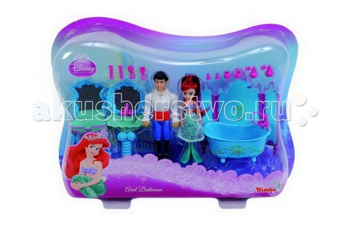 Simba Игровой набор Мини-Ариель с принцемИгровой набор Мини-Ариель с принцемSimba Игровой набор Мини-Ариель с принцем, обязательно понравится вашему малышу и займет его внимание надолго.  Волосы у Ариэль пушистые, у принца – пластмассовые.  В наборе:  две мини-куклы (около 10 см) – Ариэль с хвостом русалки и принц,  ванная с загородкой и душем,  раковина с зеркалом,  туалетный столик с зеркалом и пуфик к нему, а расческа,  флаконы духов,  бигуди и другое.<br>