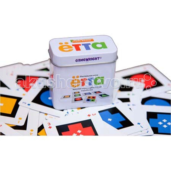 Стиль жизни Настольная игра ЁттаНастольная игра ЁттаСтиль Жизни Настольная игра Ётта.  Ётта – могучая игра в крошечной коробочке! Это простая логическая игра для всех: правила её предельно понятны, а процесс очень увлекателен. Игра содержит 64 карты, у каждой из которых есть по 3 признака: цвет, форма и число внутри. Игрокам раздаётся по 4 карты, одна карта кладется в центр стола. Далее игроки по очереди могут выложить 1, 2, 3 или 4 карты, чтобы получилась Линия, а лучше Цепочка. Игрокам нужно держать в голове одновременно три признака карт, а также видеть всю картину в целом, чтобы не пропустить место для своей карты.  Состав игры:  64 уникальные карты  2 карты джокера правила игры на русском языке  жестяная коробочка.<br>